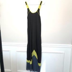 UO Silence + Noise Black Neon Chevron Maxi Dress